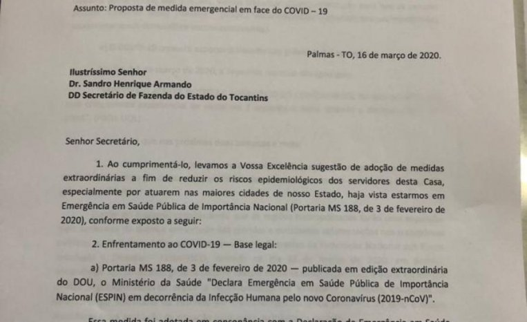 AUDIFISCO e SINDARE solicitam medidas emergenciais no âmbito da SEFAZ-TO para o combate do COVID -